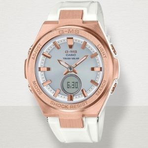 G- MS BABY- G Casio Watch, White and Rose Gold